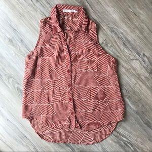 Body Central sheer sleeveless button down blouse